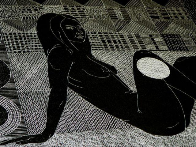 Detail propojení ornamentů a lidského těla v grafice Said Ismaila. Foto: Barbora Milotová, StudentMag.cz